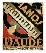 Vintage Piano Art Deco Fleece Blanket
