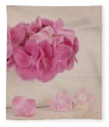 Vintage Pink Hydrangea Fleece Blanket