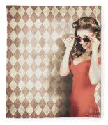 Vintage Pinup Fashion Model In Womens Sunglasses Fleece Blanket