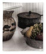 Vintage Pitcher, Pan, And Fruit Bowl Fleece Blanket