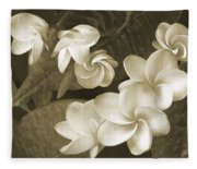 Vintage Plumeria Fleece Blanket