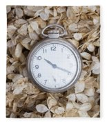 Vintage Pocket Watch Over Dried Flowers Fleece Blanket