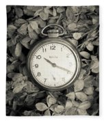 Vintage Pocket Watch Over Flowers Fleece Blanket