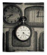 Vintage Pocket Watch Over Old Clocks Fleece Blanket
