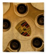 Vintage Porsche Wheel Logo Fleece Blanket
