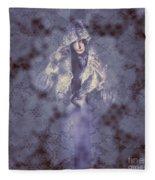 Vintage Portrait. Elegant Girl Wearing Lace Veil Fleece Blanket