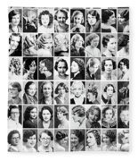 Vintage Portrait Photos Depict Womens Hairstyles Of The 1930s  - Doc Braham - All Rights Reserved. Fleece Blanket