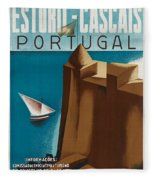 Vintage Portugal Travel Poster Fleece Blanket