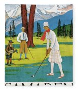 Vintage Poster Advertising Samaden In Switzerland Fleece Blanket