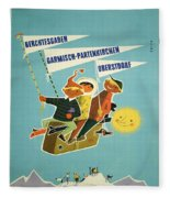 Vintage Poster - Bavarian Alps Fleece Blanket