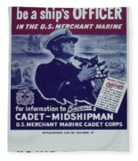 Vintage Poster - Be A Ship's Officer Fleece Blanket