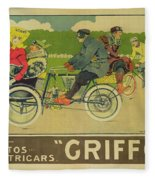 Vintage Poster Bicycle Advertisement Fleece Blanket