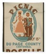Vintage Poster Old Settlers Picnic Fleece Blanket