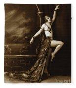 Vintage Poster Posing Dancer In Costume Fleece Blanket