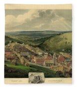 Vintage Pottsville Pennsylvania Etching With Remarque Fleece Blanket