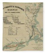 Vintage Railway Map 1865 Fleece Blanket