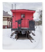Vintage Red Caboose In The Snow Fleece Blanket