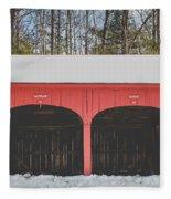 Vintage Red Carriage Barn Lyme Fleece Blanket
