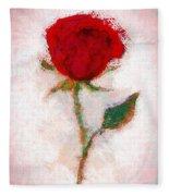 Vintage Red Rose  Fleece Blanket