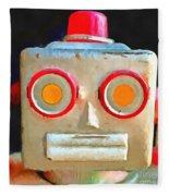 Vintage Robot Toy Square Pop Art Fleece Blanket