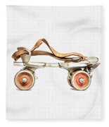 Vintage Roller Skate Painting Fleece Blanket