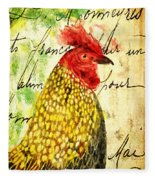 Vintage Rooster Portrait    Fleece Blanket