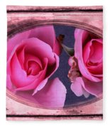 Vintage Rose Bud Plate Frame Painting Fleece Blanket
