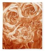 Vintage Rose Petals Abstract  Fleece Blanket