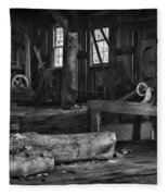 Vintage Sawmill In Black And White Fleece Blanket