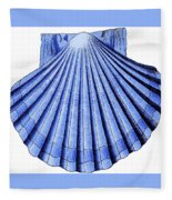 Vintage Scallop Shell Blue Fleece Blanket