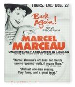 Vintage Show Poster Marcel Marceau Fleece Blanket