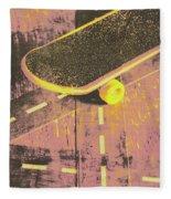 Vintage Skateboard Ruling The Road Fleece Blanket