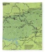 Vintage Smoky Mountains National Park Map Fleece Blanket