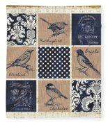 Vintage Songbird Patch 2 Fleece Blanket