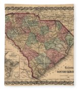 Vintage South Carolina Map Fleece Blanket