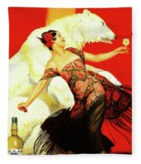 Vintage Spanish Liquor Ad, Flamenco Dancer, Polar Bear Fleece Blanket