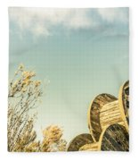 Vintage Spools And Farmyard Skies Fleece Blanket