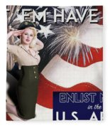Vintage Style Pinup Recruiting Poster Fleece Blanket