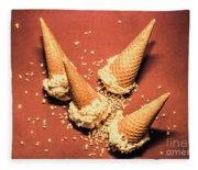 Vintage Summer Ice Cream Spill Fleece Blanket