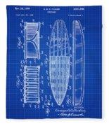 Vintage Surf Board Patent Blue Print 1950 Fleece Blanket
