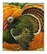 Vintage Thanksgiving Card Fleece Blanket