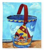 Vintage Tin Sand Bucket Fleece Blanket