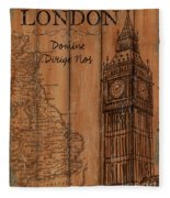 Vintage Travel London Fleece Blanket