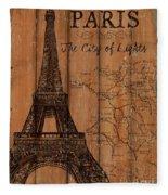 Vintage Travel Paris Fleece Blanket
