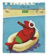 Vintage Travel Poster Italy Fleece Blanket