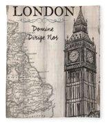 Vintage Travel Poster London Fleece Blanket