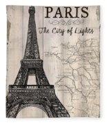 Vintage Travel Poster Paris Fleece Blanket