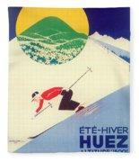 Vintage Travel Skiing Fleece Blanket