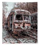 Vintage Trolley Streetcars Fleece Blanket