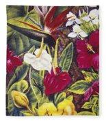 Vintage Tropical Flowers Fleece Blanket